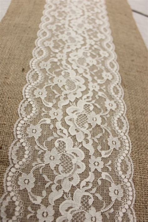 burlap table runner with lace 6 ft 12x76 burlap lace table runner wedding decor lace