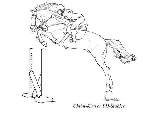 Free Powerful Horse Jumping Lineart By Bh-stables On