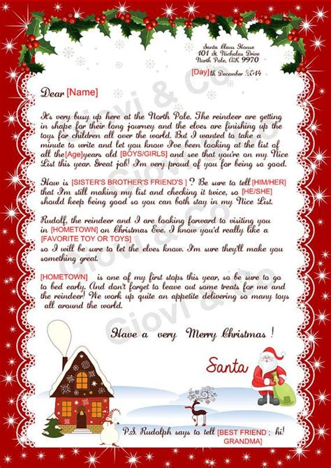 printable reply letter  santa kids christmas  gioviandco christmas lettering kids