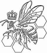 Bee Queen Embroidery Urban Designs Coloring Tattoo Pages Colouring Threads Bees Paper Outline Drawing Urbanthreads Unique Name Honey Print Line sketch template