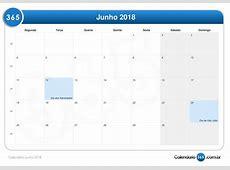 Calendário junho 2018