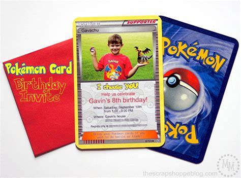 pokemon card birthday invitation  scrap shoppe