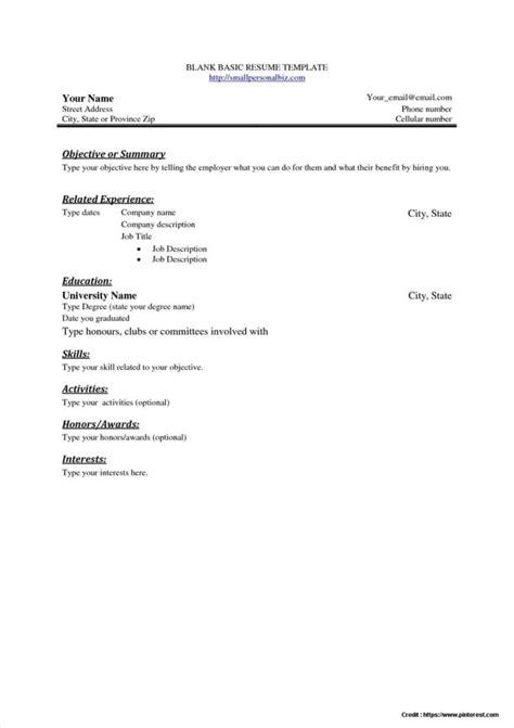 Basic Resume Template Free by Free Basic Resume Template Pdf Resume Resume Exles