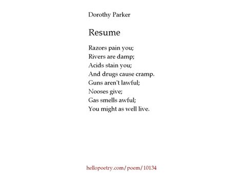Dorothy Poem Resume by What Is The Poem Resume By Dorothy About