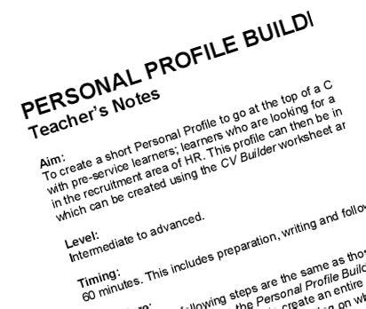 How To Write A Personal Profile For Your Resume by Cv Builder Writing Activity