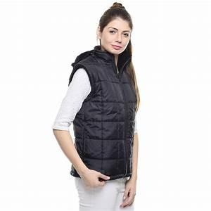 Woman Standing Wearing Black Bubble Zip Turtleneck Vest ...