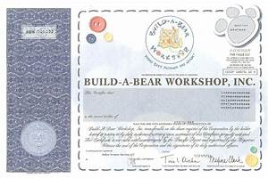 build a bear workshop stock certificate With build a bear certificates
