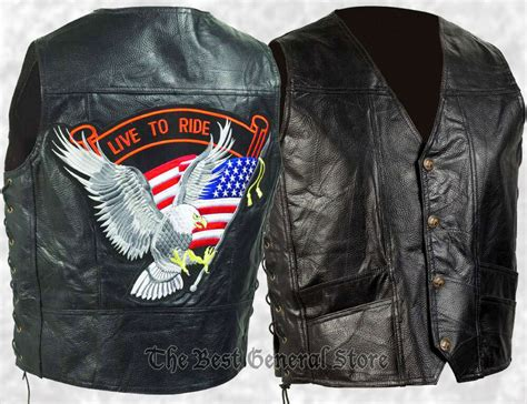 Mens Black Leather Biker Style Motorcycle Vest With Eagle