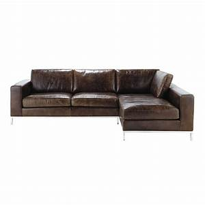 canape d39angle vintage 4 places en cuir marron jack With canape cuir angle marron