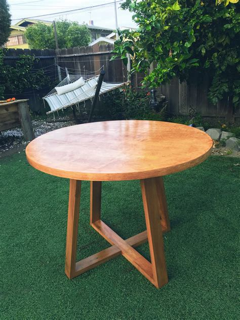 finished  birch plywood top poplar base table