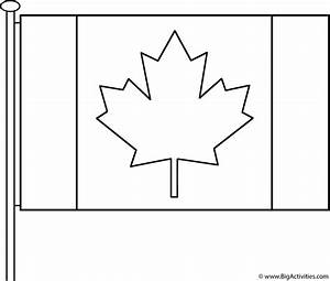 Canadian Flag With Pole Coloring Page Canada Day