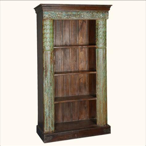 4 shelf open bookcase greek column reclaimed wood 4 shelf open display bookcase