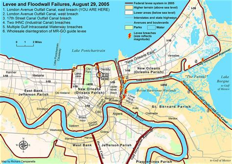 Hurricane ida made landfall in louisiana on sunday as a category 4 storm with winds of 150 miles per hour, one of the strongest storms to hit the region since new orleans mayor latoya cantrell ordered a mandatory evacuation for a small area of the city outside the levee system, but said there wasn't. Levee Breach Map for New Orleans (With images)   Levee ...