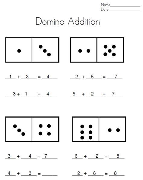 Domino Math Worksheets For First Grade Homeshealthinfo