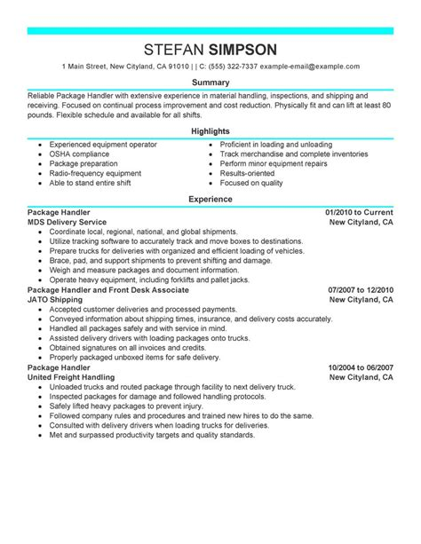 Sle Resume For Material Handler by Best Package Handler Resume Exle Livecareer