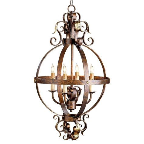 wrought iron lighting scrolled wrought iron sphere 4 light chandelier kathy