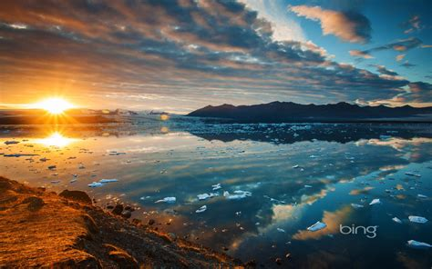 ekyulsaurloun lagoon iceland lake sunset mountains desktop