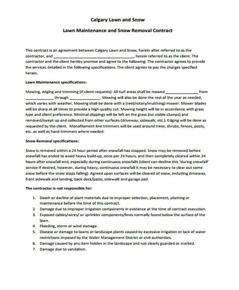lawn service contract templates  sample