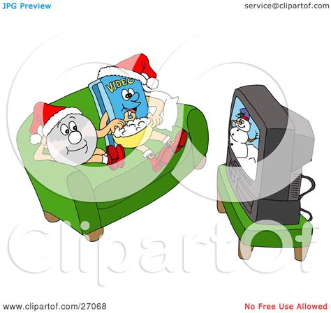 Clipart Illustration Of A Dvd And Video Sitting On A Couch