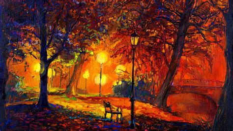 Digital Art, Nature, Trees, Painting, Park, Bench, Lamps