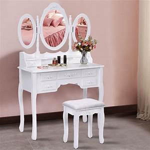 Costway, White, Tri, Folding, Oval, Wood, Vanity, Makeup, Table, Set, 7, Drawers
