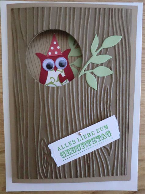 eule woodgrain stampin   images birthday card