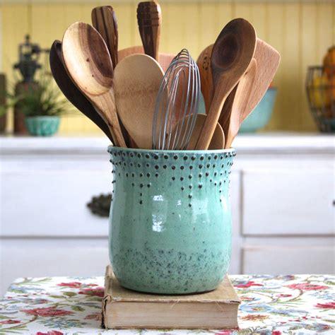 utensil holder kitchen storage pottery stoneware aqua holders ceramic vase utensils cooking tools organizer crock bay silverware backbaypottery etsy spoons