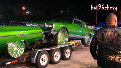 car show customs green fleet box chevy    donk
