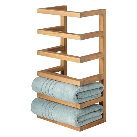 teak hanging towel rack  bathroom accessories