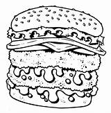 Coloring Cheeseburger Food Junk Pages Fast Double Drawing Unhealthy Decker Getcolorings Printable Print Template Colorings Getdrawings Templates sketch template