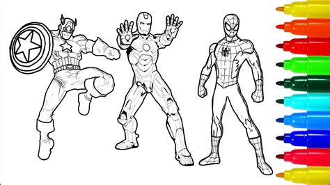 spiderman hulk iron man coloring pages colouring pages