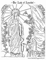 Coloring Pages Lady Catholic Lourdes Bernadette Preschool Colouring Sheets Adult Saint Adults Playground Mary Religious Crafts Catholicplayground Religion Visit Holy sketch template