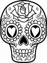 Coloring Skull Sugar Pages Simple Pdf sketch template