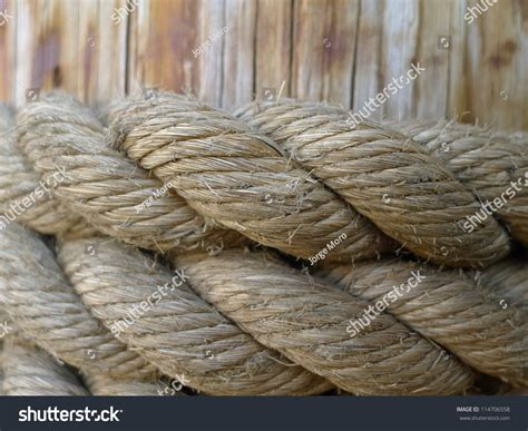 Big Boat Rope by Thick Rope Around Dock Piling Keeping Stock Photo