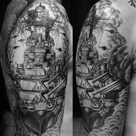 battleship tattoo designs  men manly ink ideas