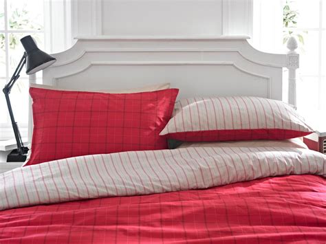 Red Tartan Duvet Cover Set (3 Sizes) By Helena Springfield