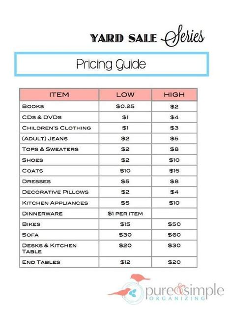 bureau price yard sale pricing guide free printable simple organizing organize a yard sale