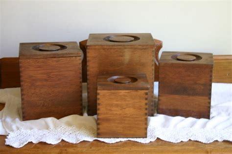 wooden kitchen canister sets vintage wooden canister set four kitchen counter
