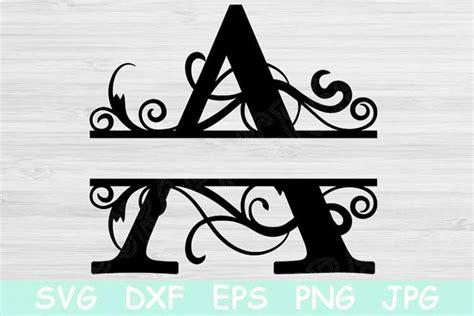 split letter monogram svg cut files  cricut silhouette