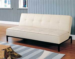 4790pu elegant convertible sofa bed in cream vinyl by With vinyl sofa bed