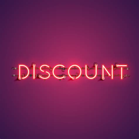Neon realistic word 'DISCOUNT' for advertising, vector ...