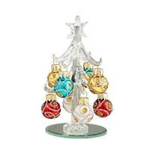 amazon com mini christal glass 4 quot christmas trees with ornaments with 8 ornaments murano