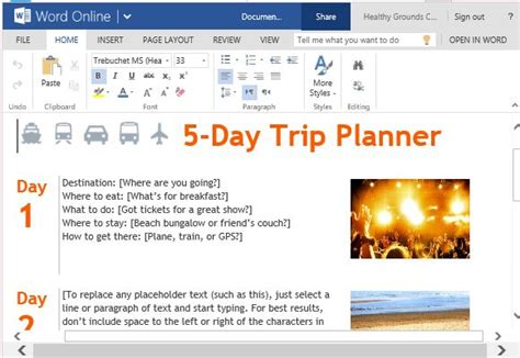 trip itinerary word template trip planner template for word online