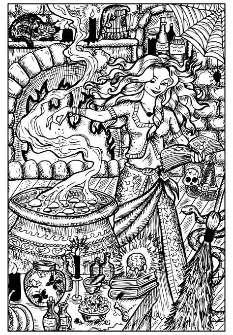 beautiful witch   cauldron halloween adult