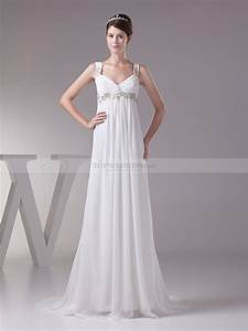 Empire cut chiffon wedding dress with beading decor for Wedding dress cuts