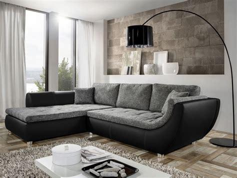 Couch Avery, 287x196cm, Webstoff Anthrazit, Kunstleder