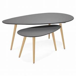 Table Gigogne Design : tables basses design ovales gigognes golda en bois et ch ne massif gris fonc ~ Teatrodelosmanantiales.com Idées de Décoration