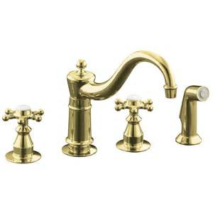 brass kitchen faucet shop kohler antique vibrant polished brass 2 handle low arc kitchen faucet at lowes com
