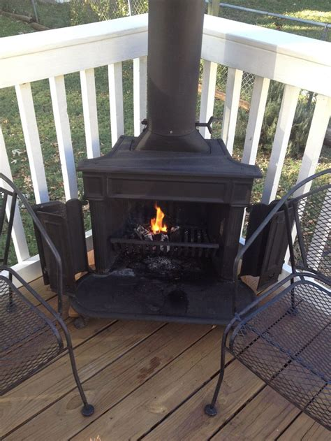 franklin stove   deck outdoor wood fireplace