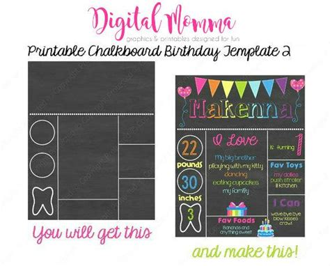 printable chalkboard birthday template personal commercial